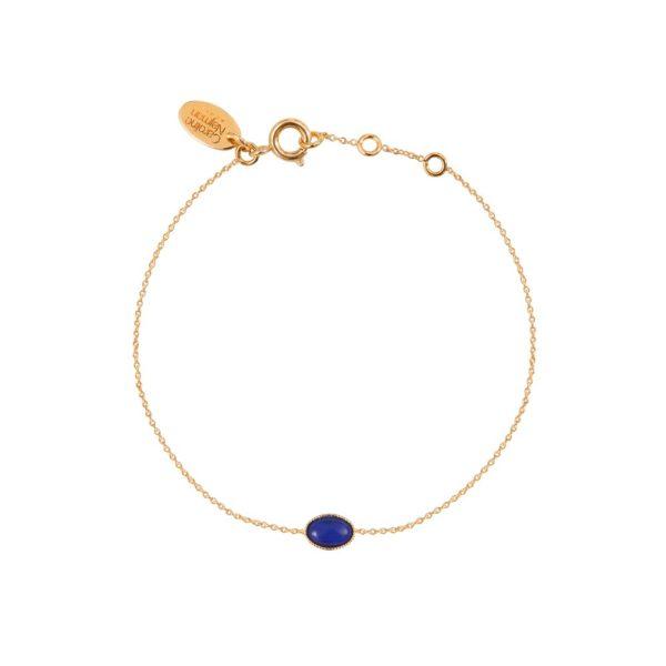 Bracelet doré lapis lazuli Cab Ovale