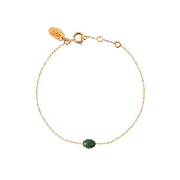 Bracelet doré malachite Cab Ovale