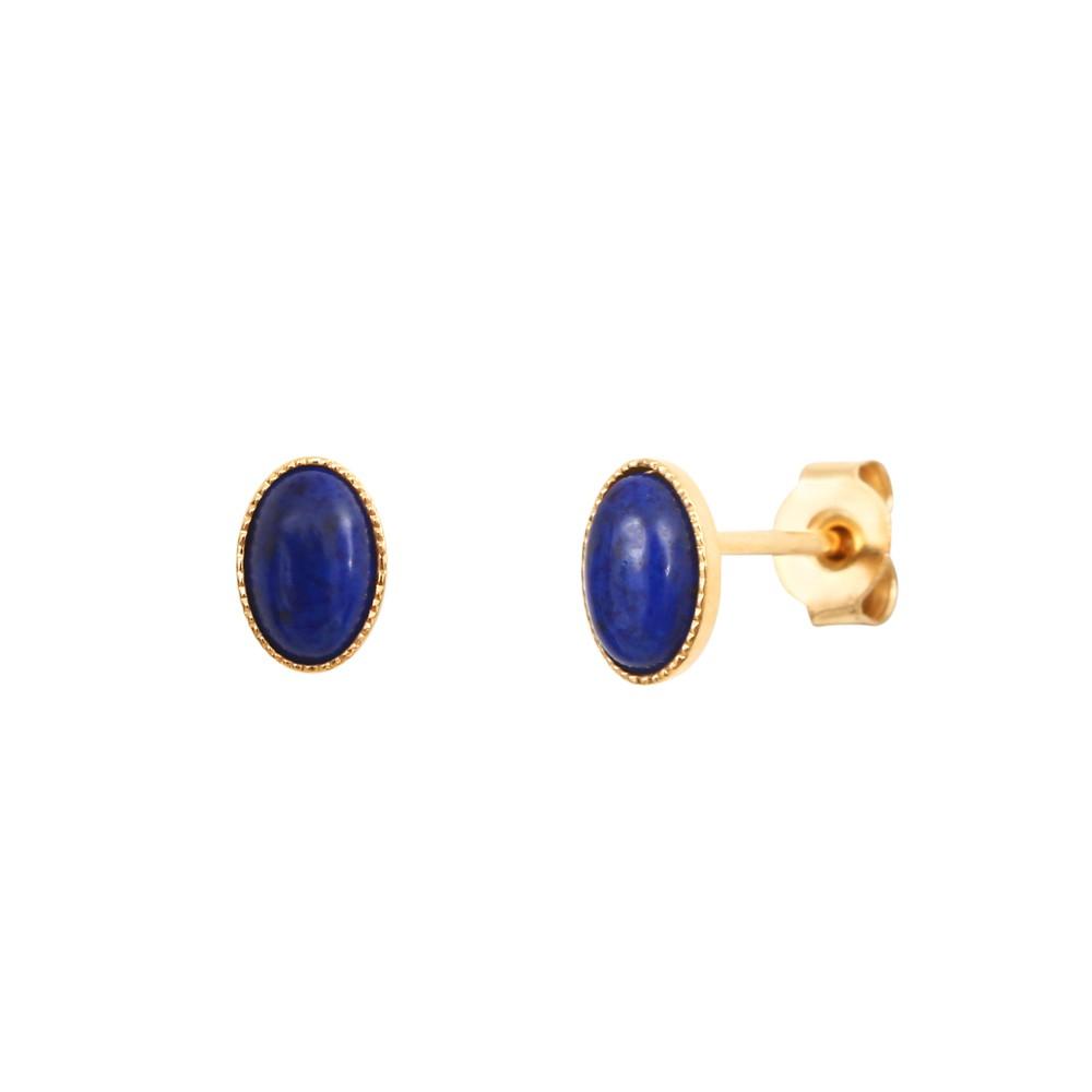 Boucles d'oreilles dorées lapis lazuli Cab Ovale