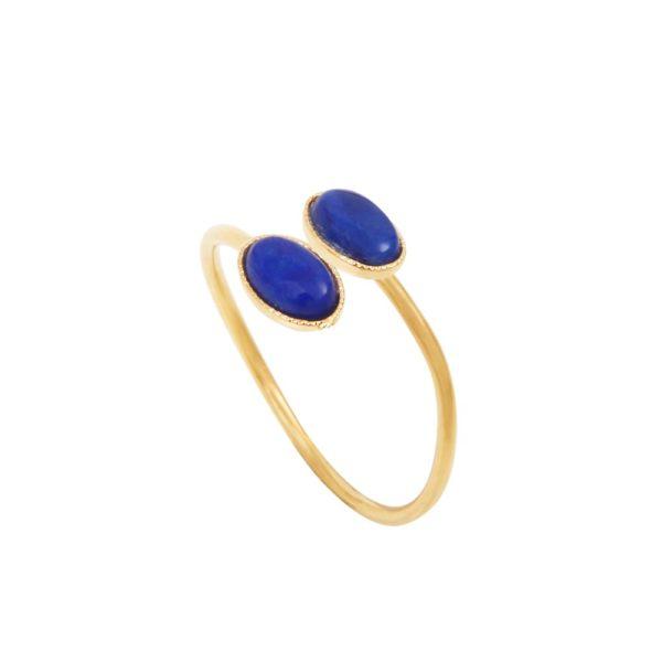 Bague ajustable croisée dorée lapis lazuli Cab Ovale