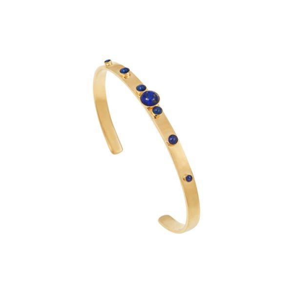 Jonc ajustable doré lapis lazuli Maya