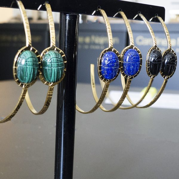 Créoles dorées lapis lazuli Khépri