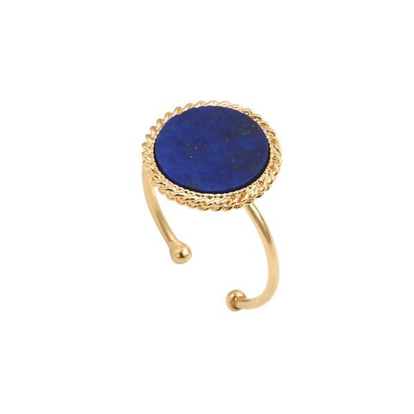 Bague ajustable dorée lapis lazuli Lady