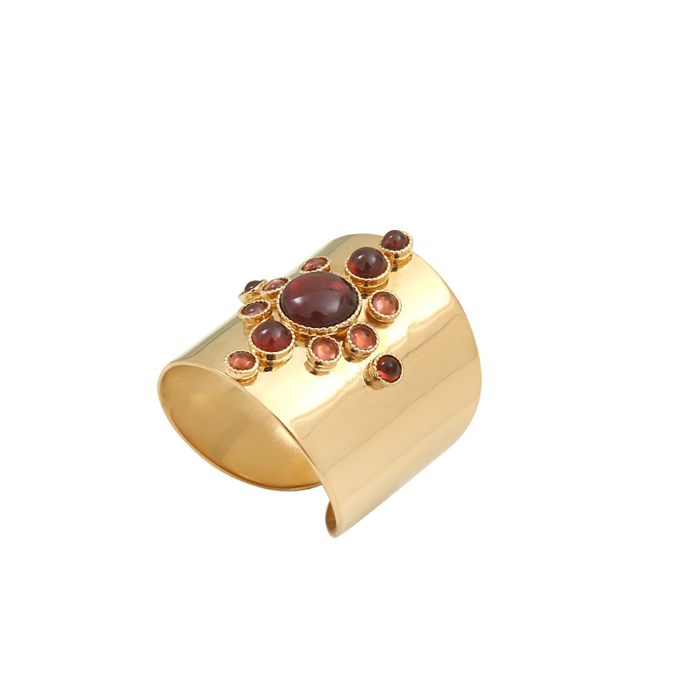 Bague ajustable dorée grenat Maya S