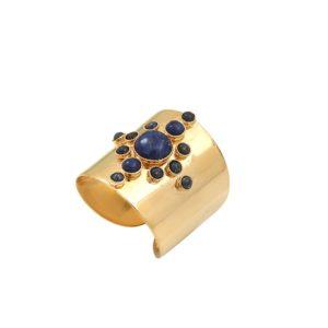 Bague ajustable dorée lapis lazuli Maya S