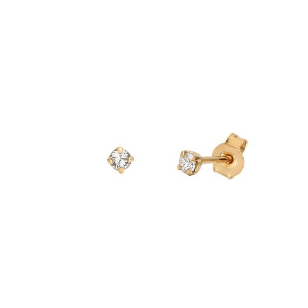 Boucles d'oreilles puces dorées Crystal Paris