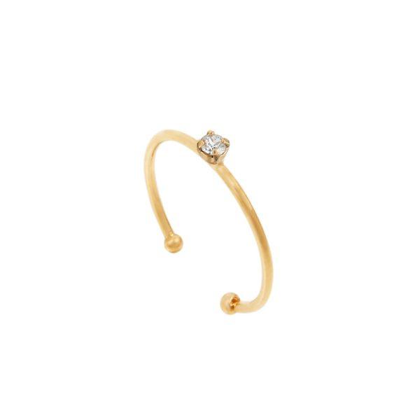 Bague ajustable dorée Crystal Paris
