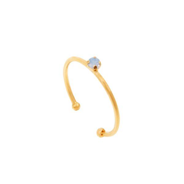 Bague ajustable dorée Air Blue Opal Paris