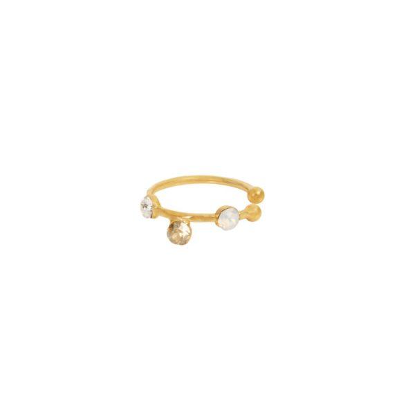 Bague d'Oreille dorée blanche Drib