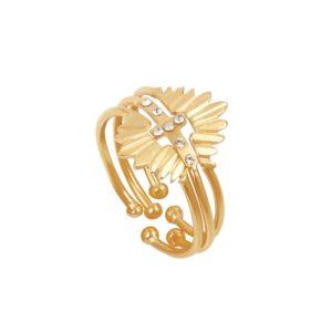 Bagues ajustables dorées Crystal Olympe Athena