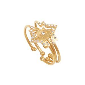 Bagues ajustables dorées Crystal Olympe Helios