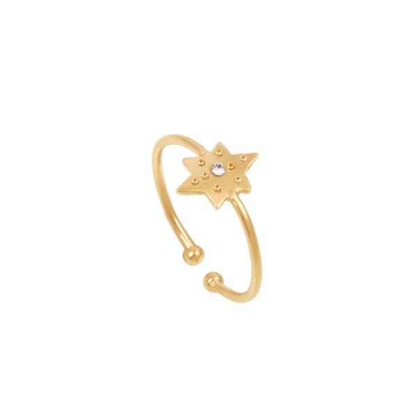 Bague ajustable dorée Crystal Olympe Helios Int