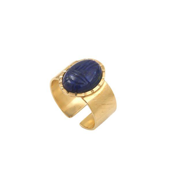 Bague ajustable dorée lapis lazuli Khépri