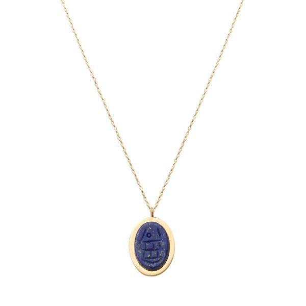Collier doré lapis lazuli Khépri