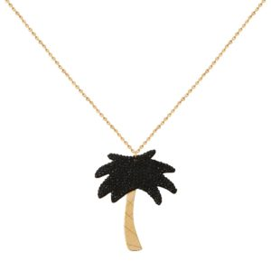 Collier doré Kuchi Palm Tree XL noir