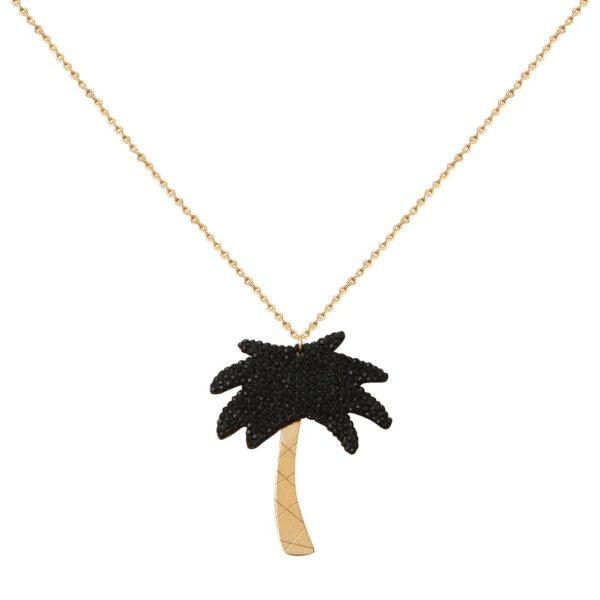 Collier doré Kuchi Palm Tree XL noir