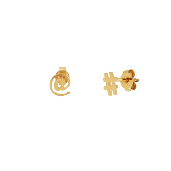 Boucles d'oreilles puces dorées Hashtag