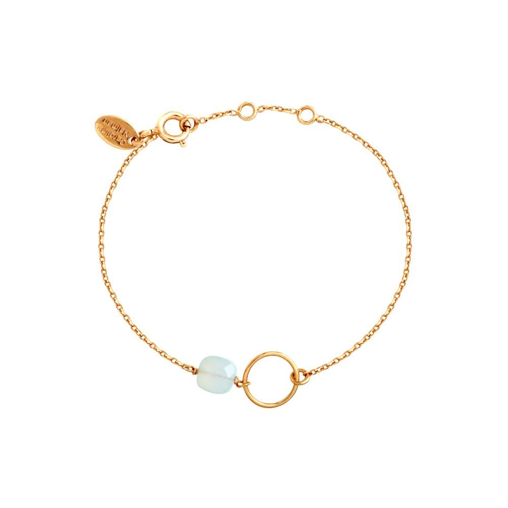 Bracelet doré calcédoine bleue Fidji