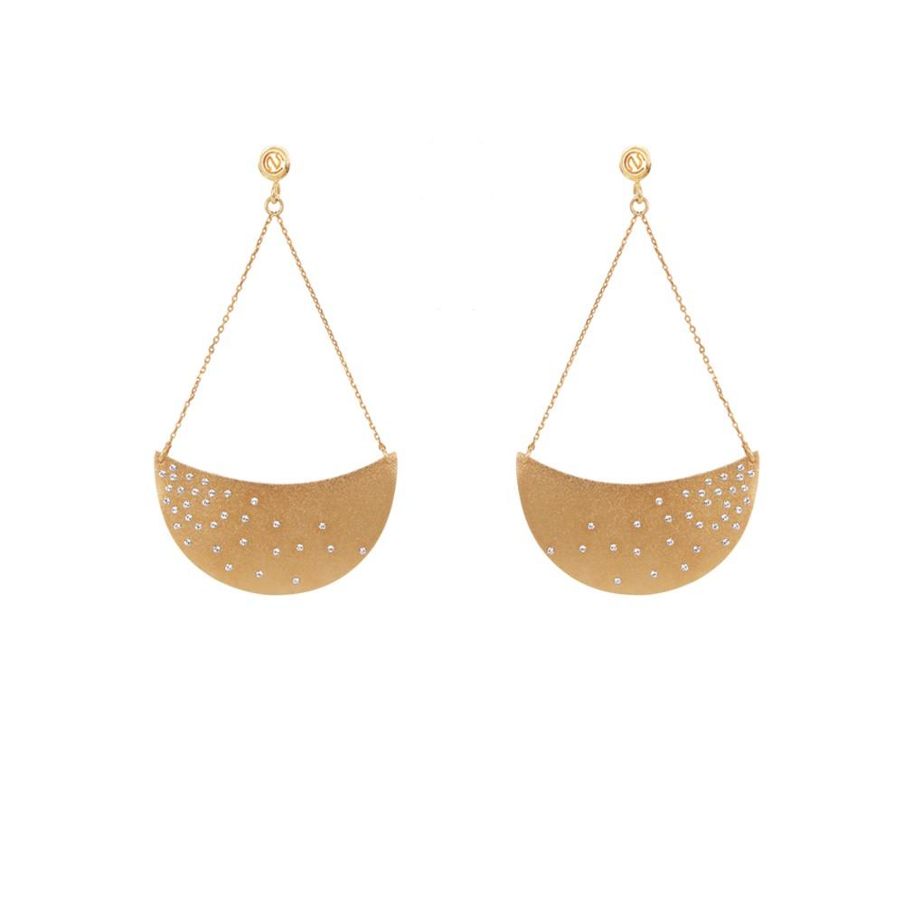 Boucles d'oreilles dorées Crystal Stellas