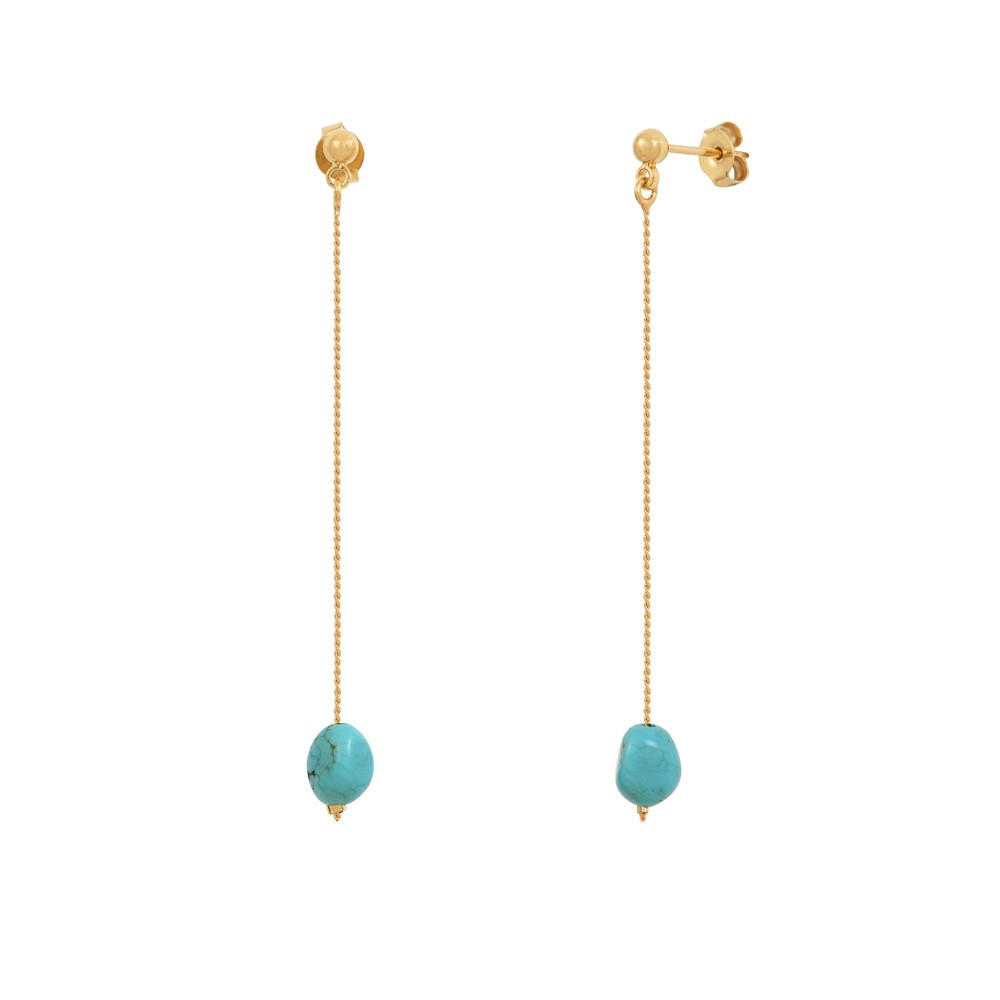 Boucles d'oreilles dorées turquoise Queen Sea