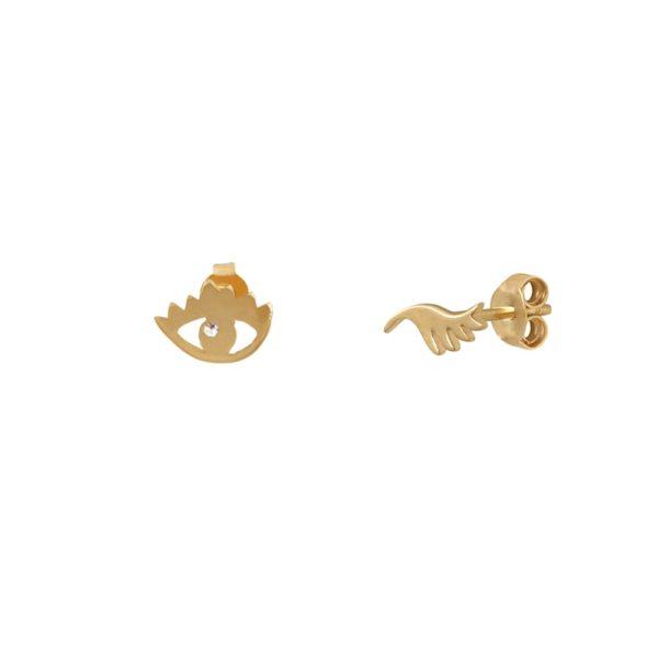 Boucles d'oreilles puces dorées Crystal Wink