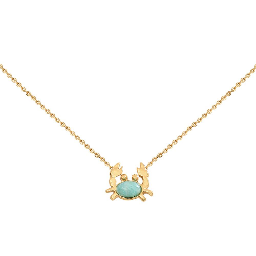 Collier doré amazonite mini crabe