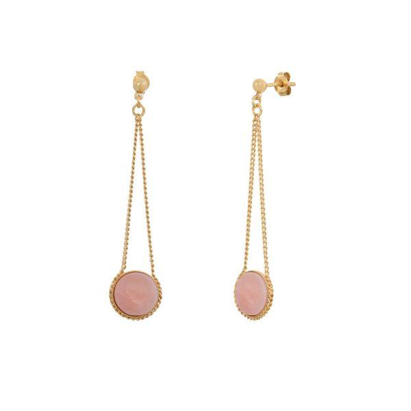 Boucles d'oreilles longues dorées à l'or fin opale rose Lady