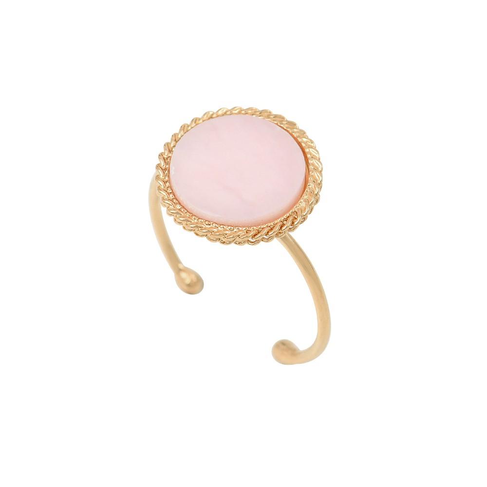Bague ajustable dorée opale rose Lady