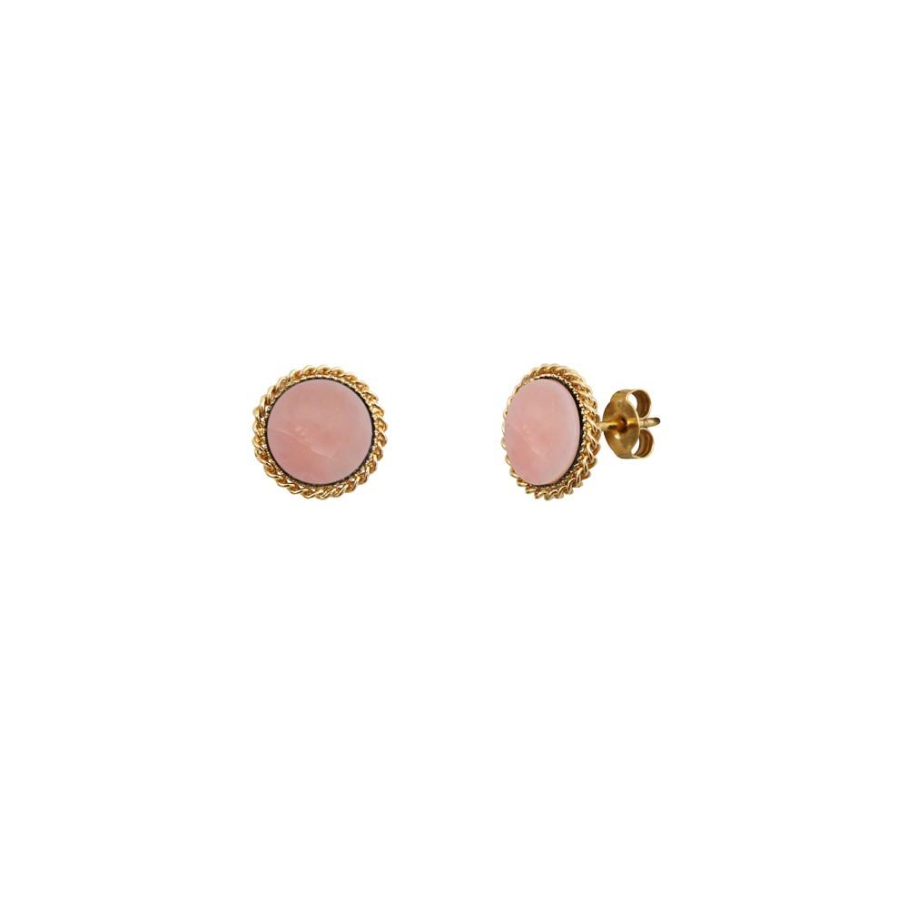 Boucles d'oreilles puces dorées new opale rose Lady