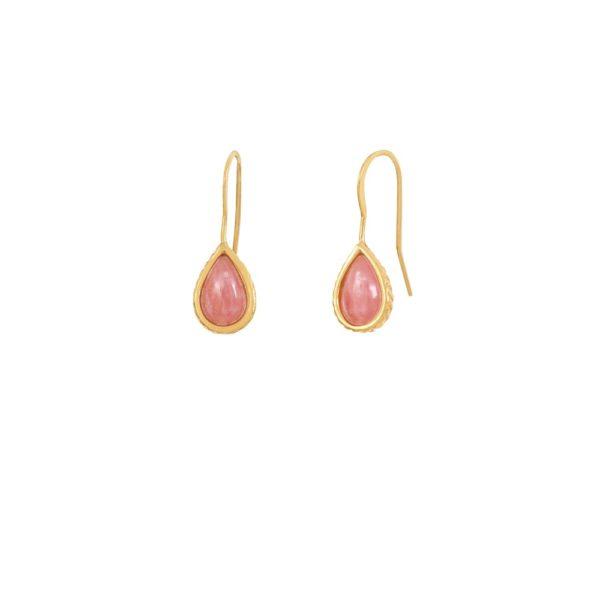 Boucles d'oreilles dorées rhodochrosite Caprice