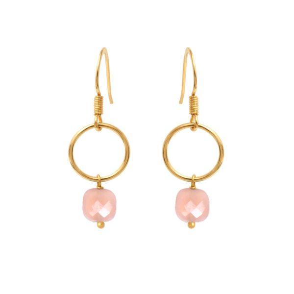 Boucles d'oreilles dorées Opale Rose Fidji