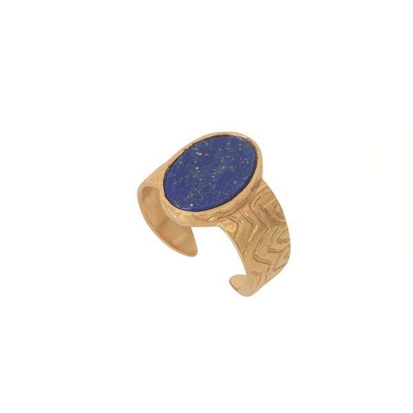 Chevalière ajustable dorée lapis lazuli Flower