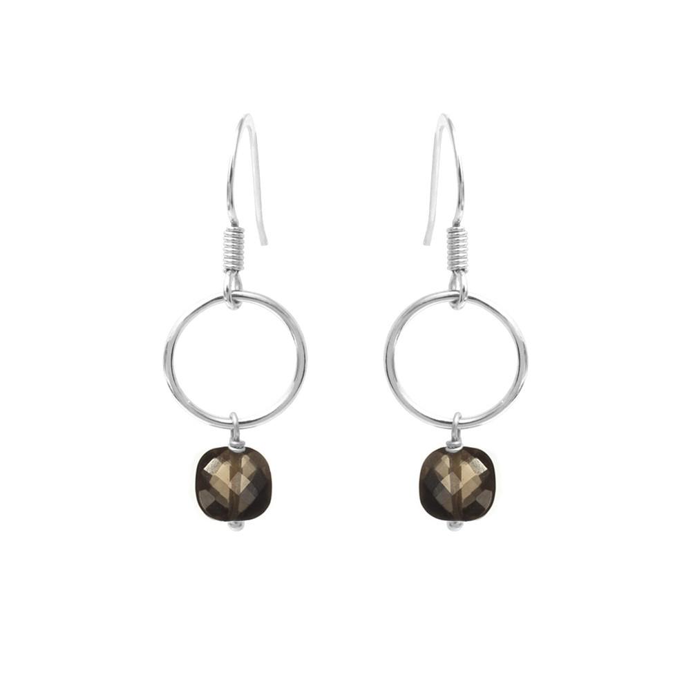 Boucles d'oreilles argent quartz fumé Fidji