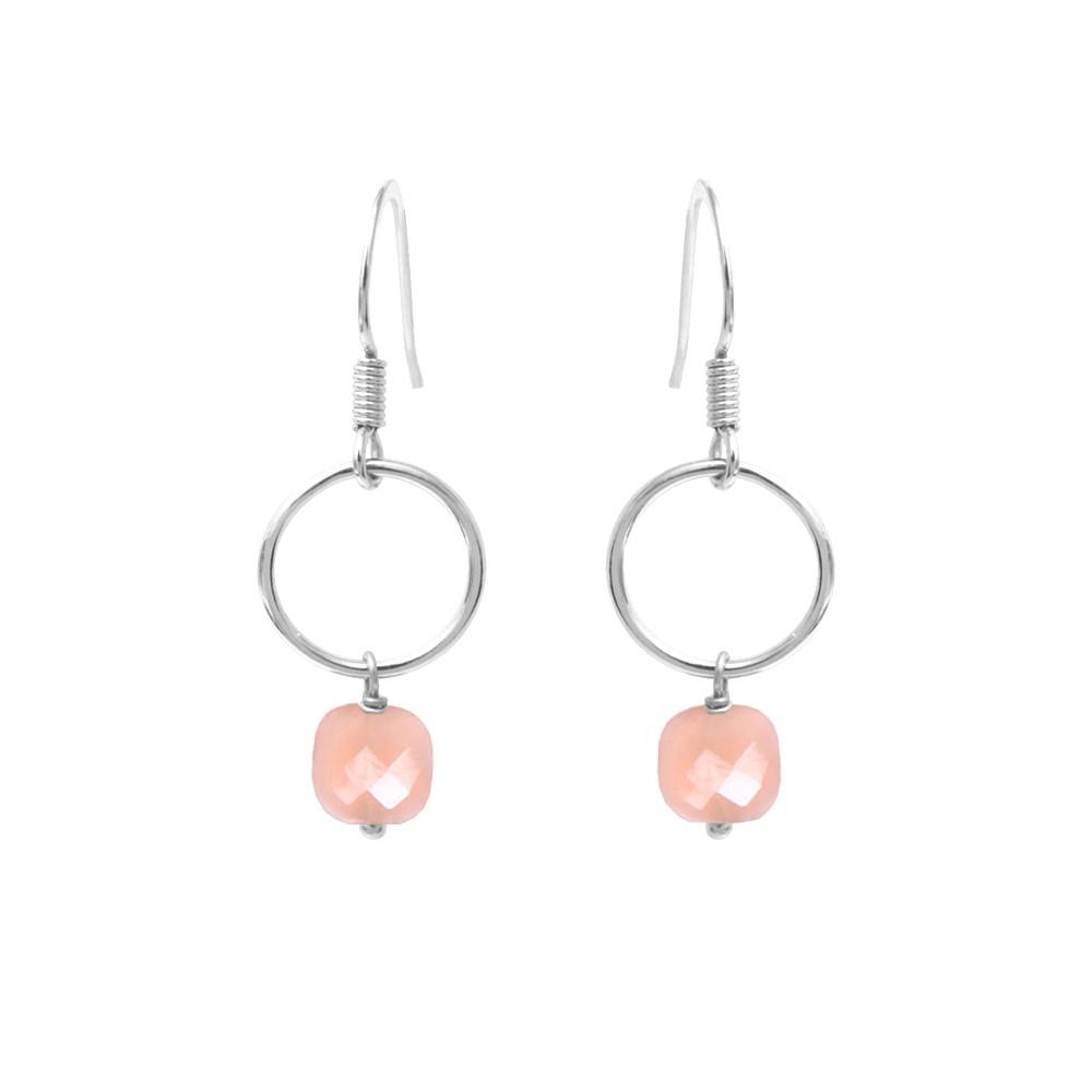 Boucles d'oreilles argent Opale Rose Fidji