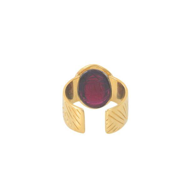 Bague ajustable dorée grenat Khépri
