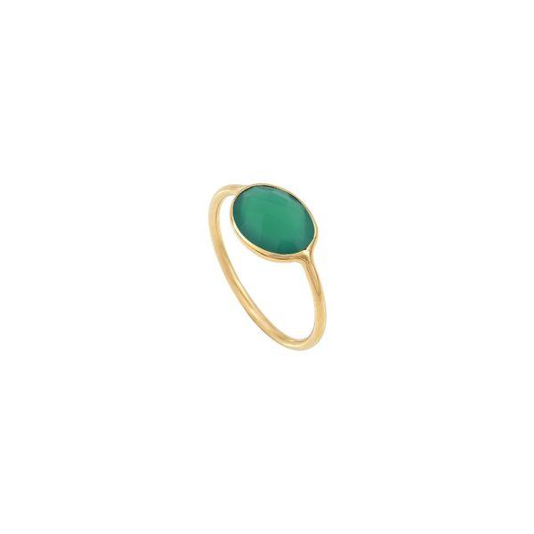 Bague dorée quartz vert Serti PM