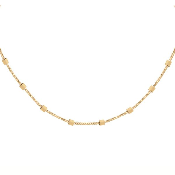 Collier doré chaine simple carré