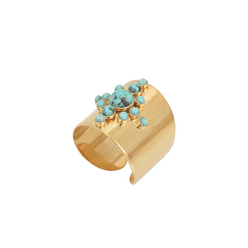 Bague ajustable dorée Jaspe Africain Maya S