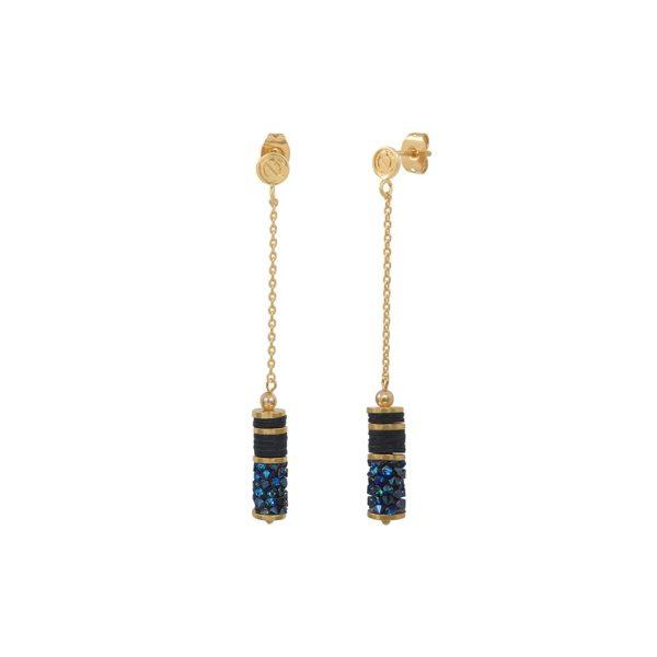 Boucles d'oreilles longues dorées Bermuda Blue Finerock