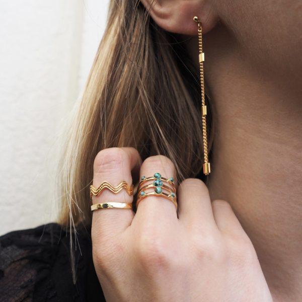 Boucles d'oreilles pendantes dorées chaine simple carré
