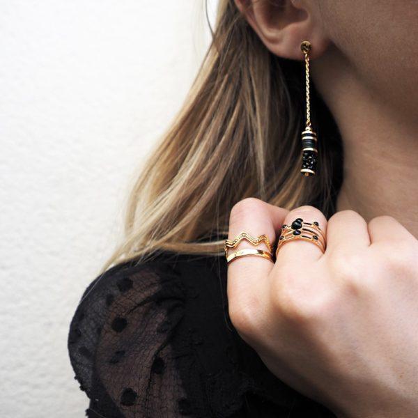 Boucles d'oreilles longues dorées Jet Finerock