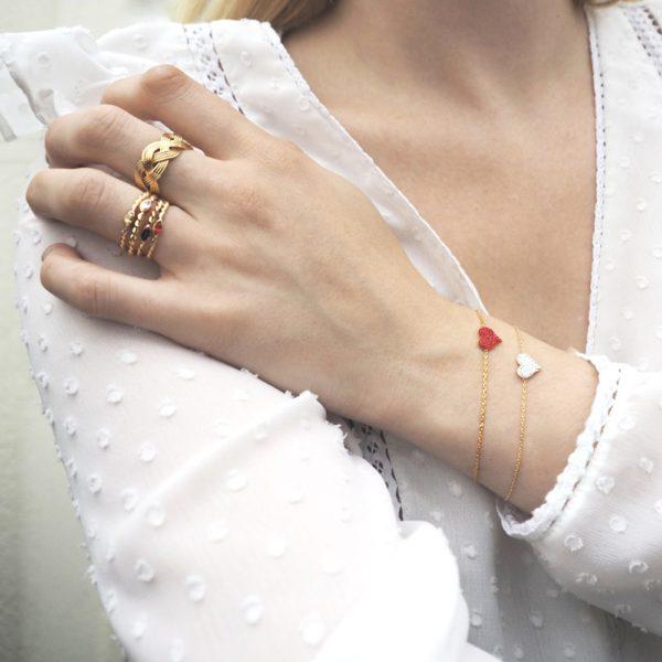 Bracelet doré Poker Hearts