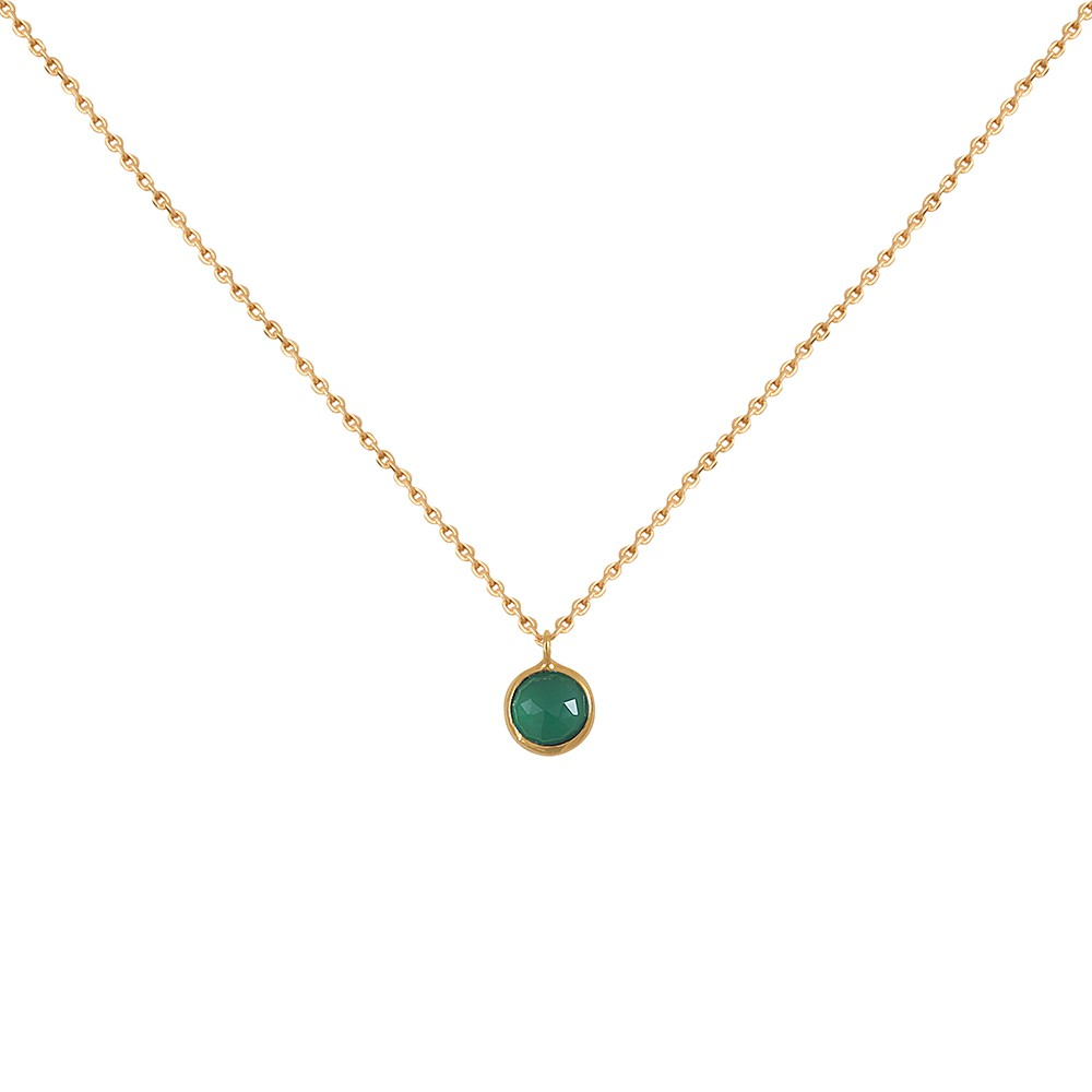 Collier doré simple Moorea Quartz Vert