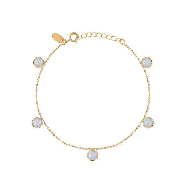 Bracelet doré Moorea Pierre de Lune Blanche