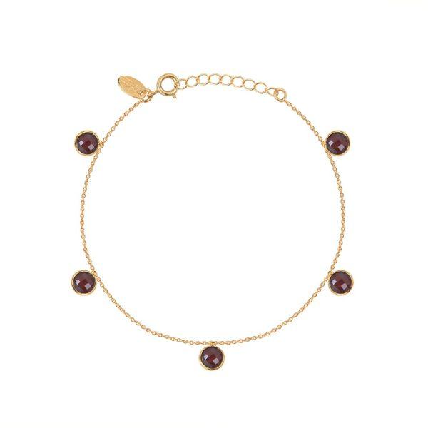 Bracelet doré Moorea Grenat
