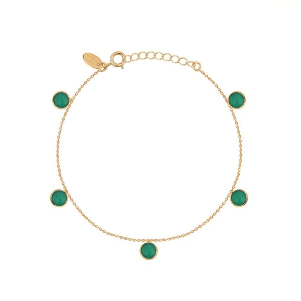 Bracelet doré Moorea Quartz Vert