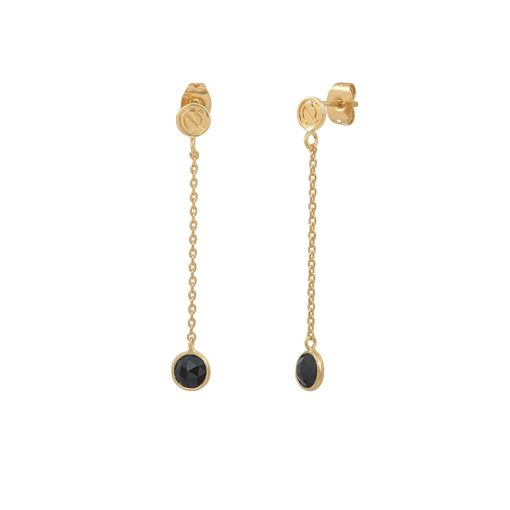 Boucles d'oreilles longues dorées Moorea Onyx