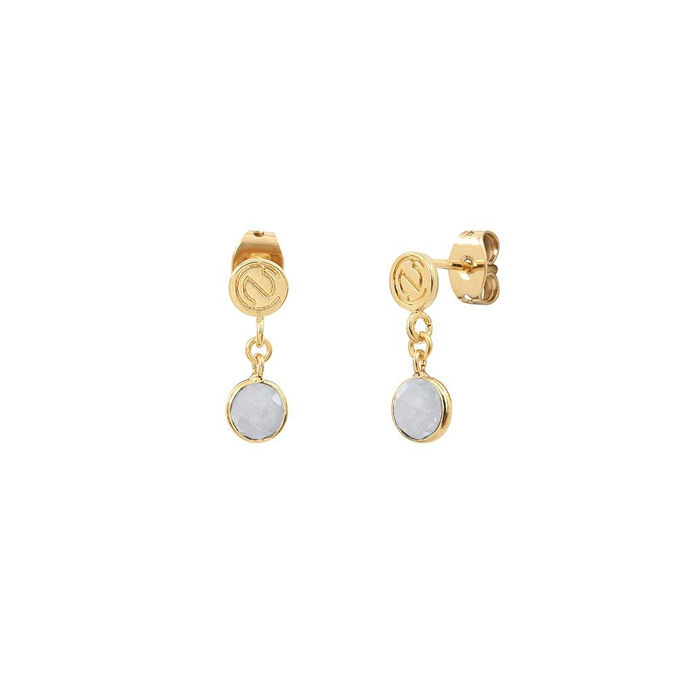 Boucles d'oreilles dorées Moorea Pierre de Lune