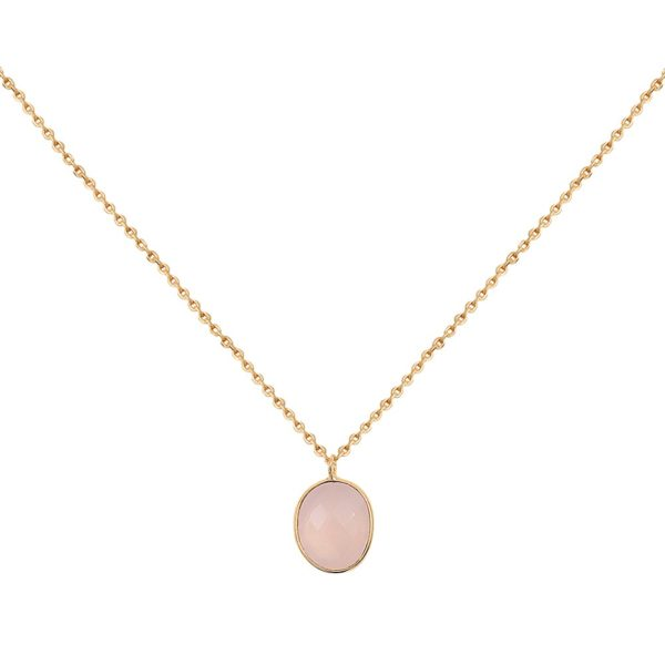 Collier doré Calcédoine Rose Serti GM