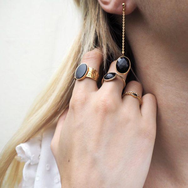 Boucles d'oreilles longues dorées Onyx Serti GM
